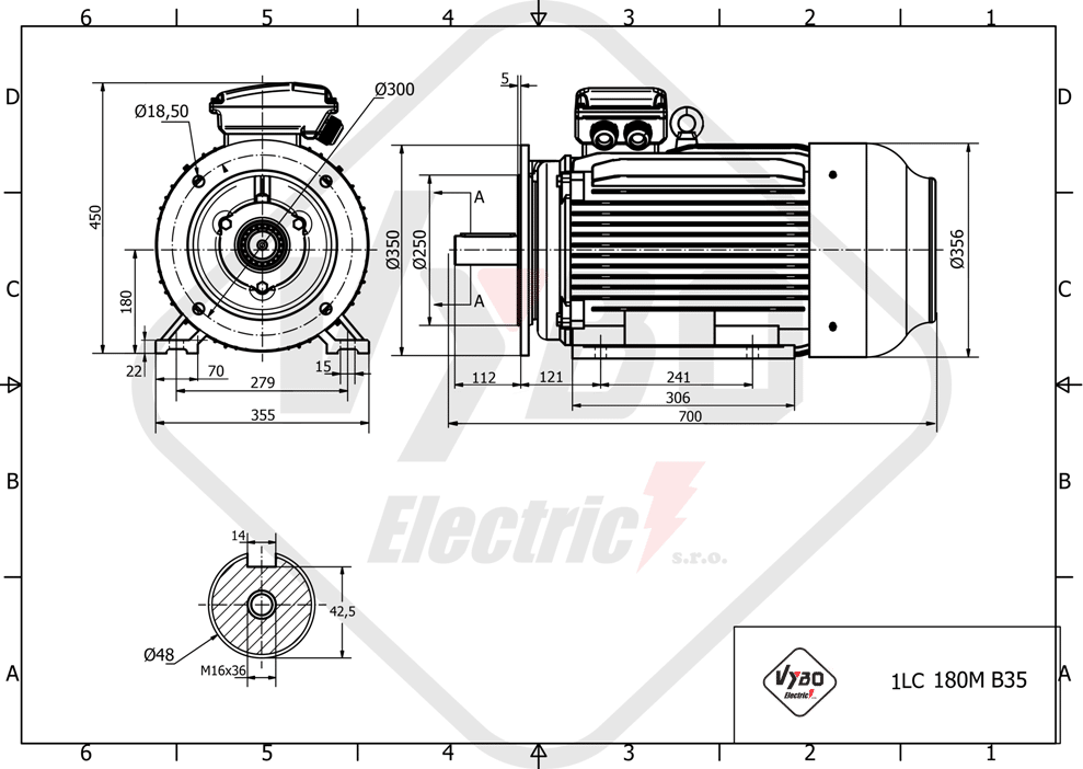 rozměrový výkres elektromotor 11kw 1LC180M-8