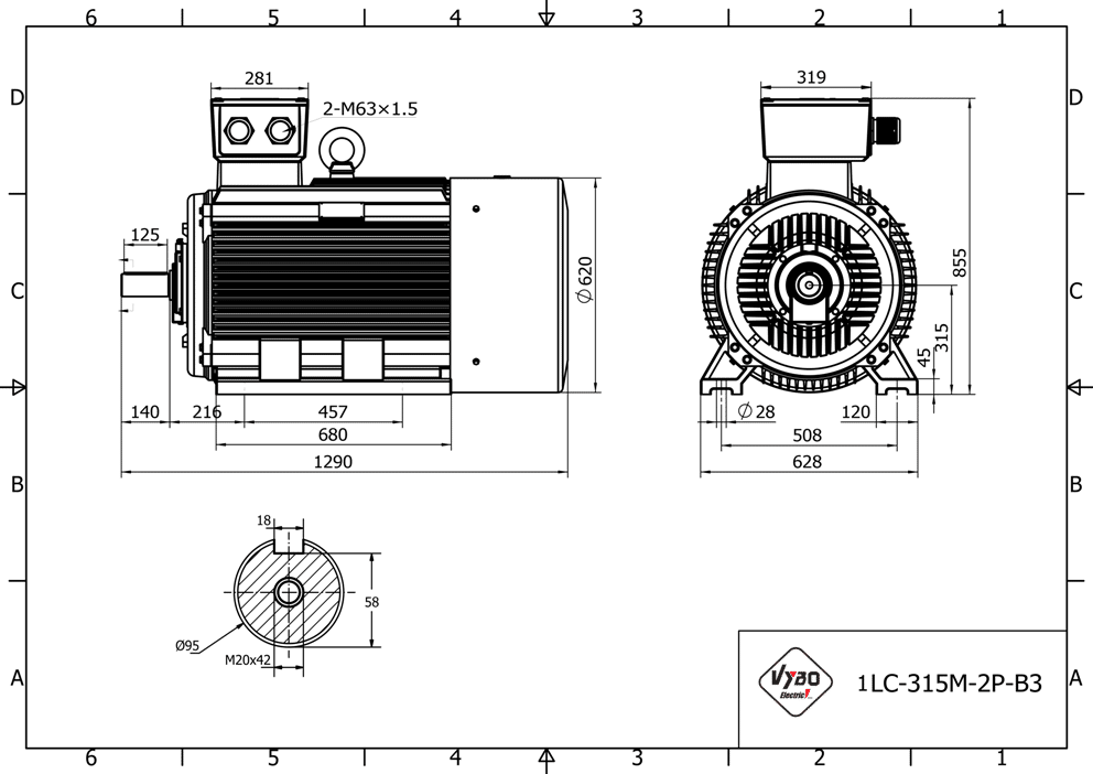 rozměrový výkres elektromotor 132kw 1LC315M02