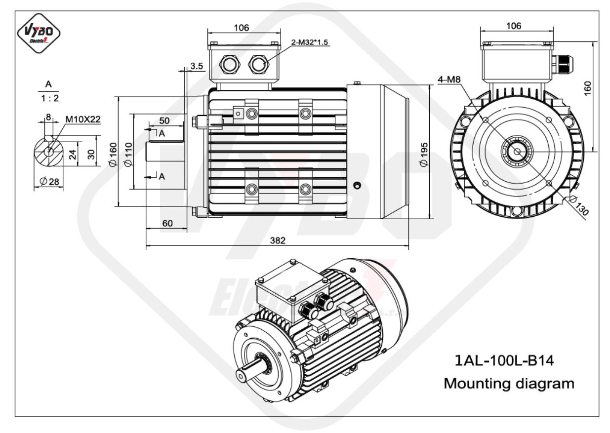 rozmerový výkres elektromotor 1AL 100L B14 online