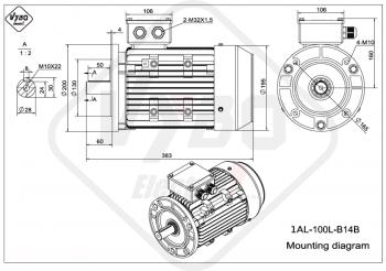 rozmerový výkres elektromotor 1AL 100L B14B online