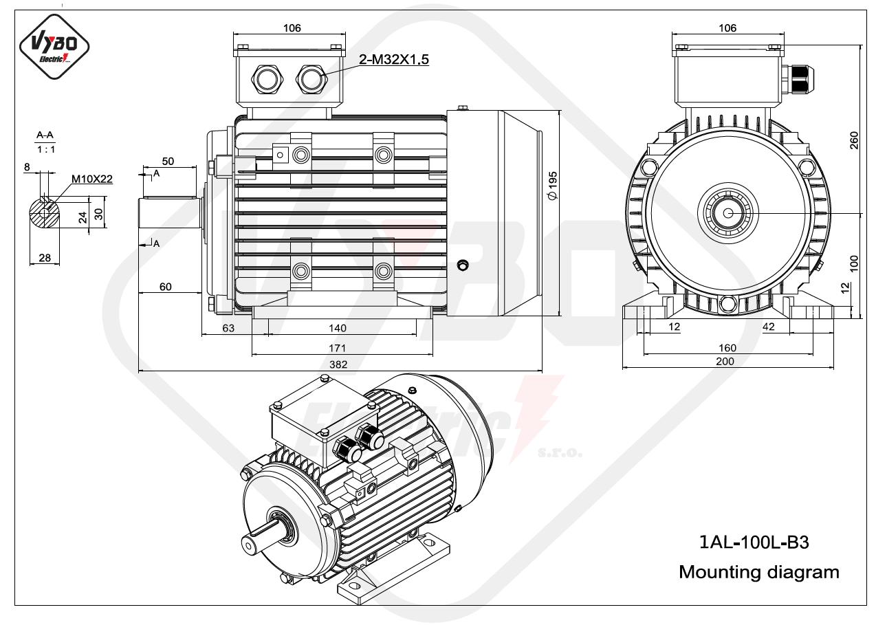 rozmerový výkres elektromotor 1AL 100L B3 online