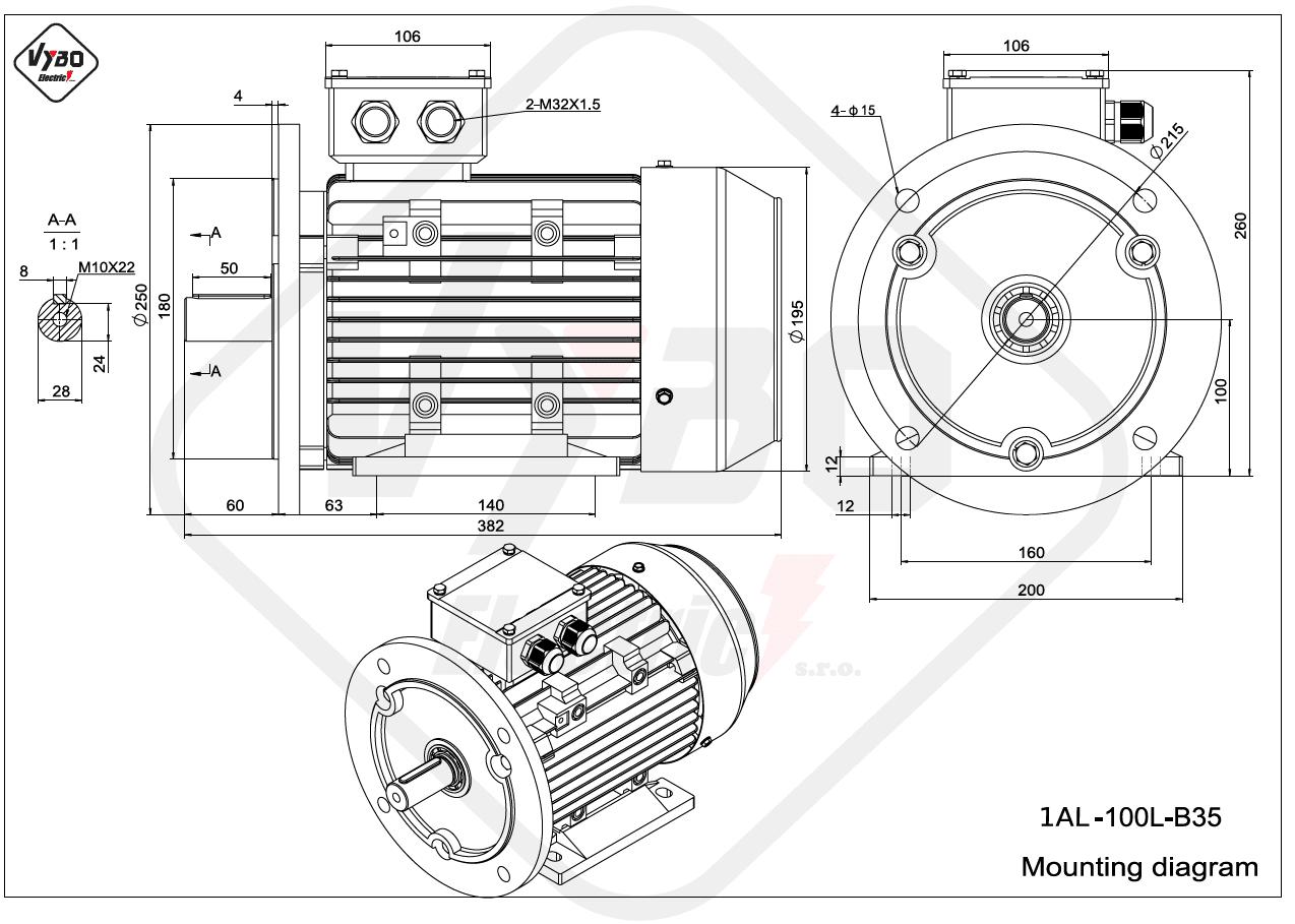 rozmerový výkres elektromotor 1AL 100L B35 online