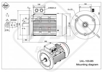 rozmerový výkres elektromotor 1AL 100L B5 online