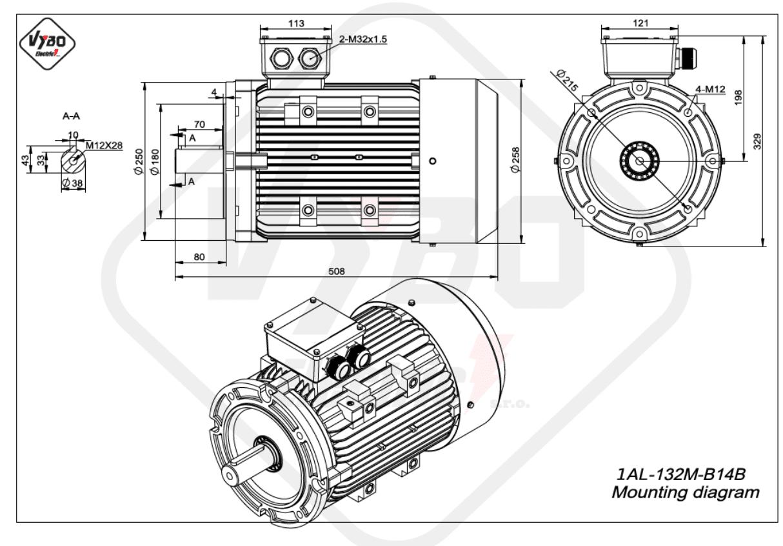 rozmerový výkres elektromotor 1AL 132M B14B online