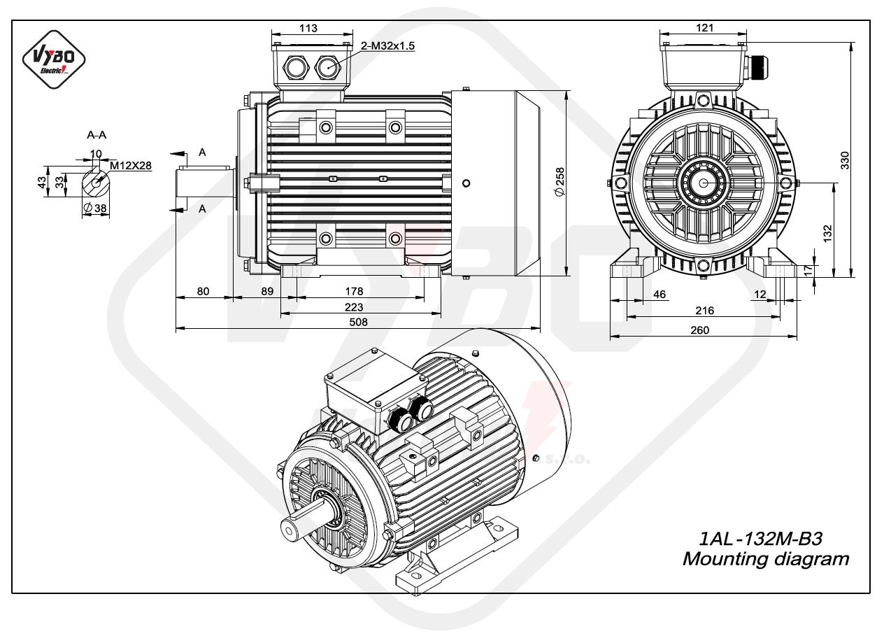 rozmerový výkres elektromotor 1AL 132M B3 online