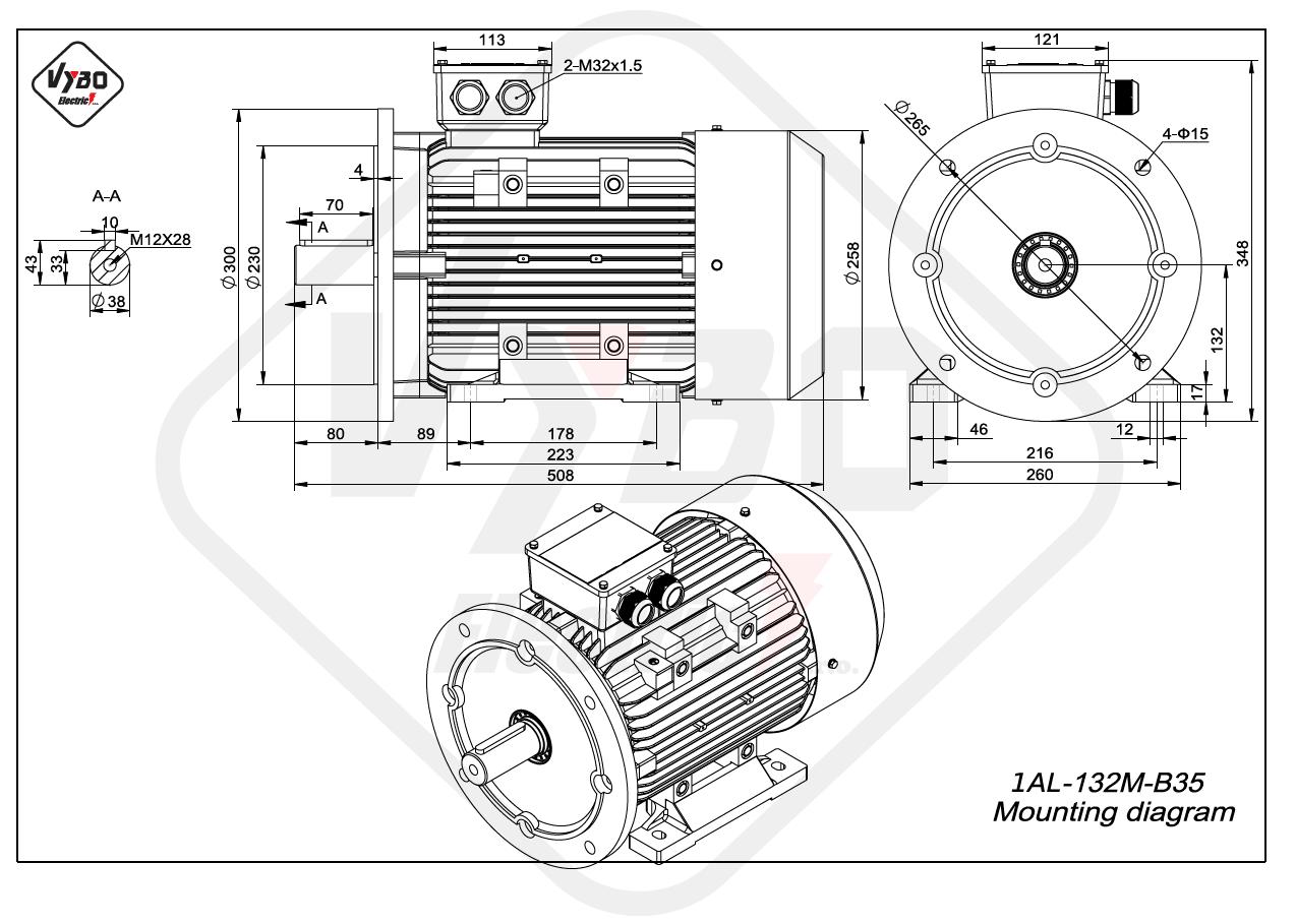 rozmerový výkres elektromotor 1AL 132M B35 online