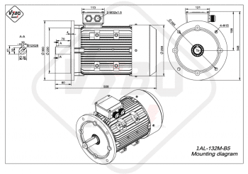 rozmerový výkres elektromotor 1AL 132M B5 online