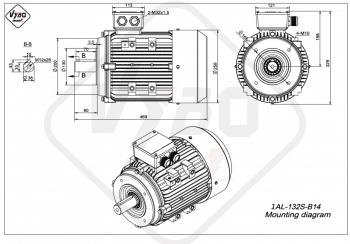 rozmerový výkres elektromotor 1AL 132S B14 online