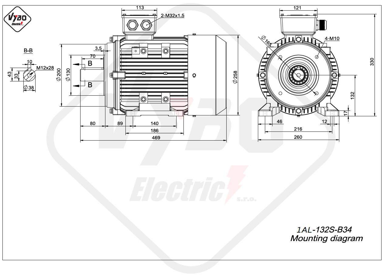 rozmerový výkres elektromotor 1AL 132S B34 online