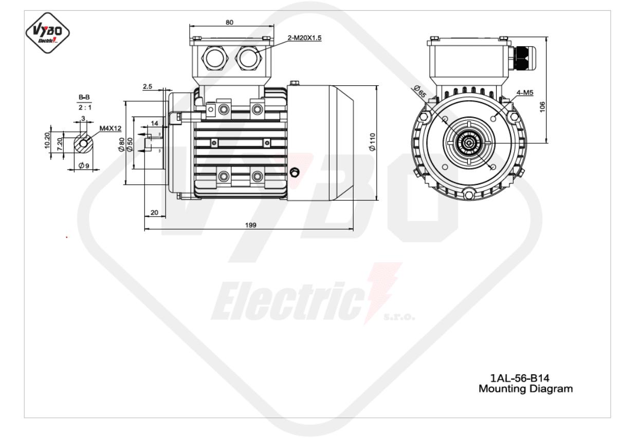 rozmerový výkres elektromotor 1AL 56 B14 online