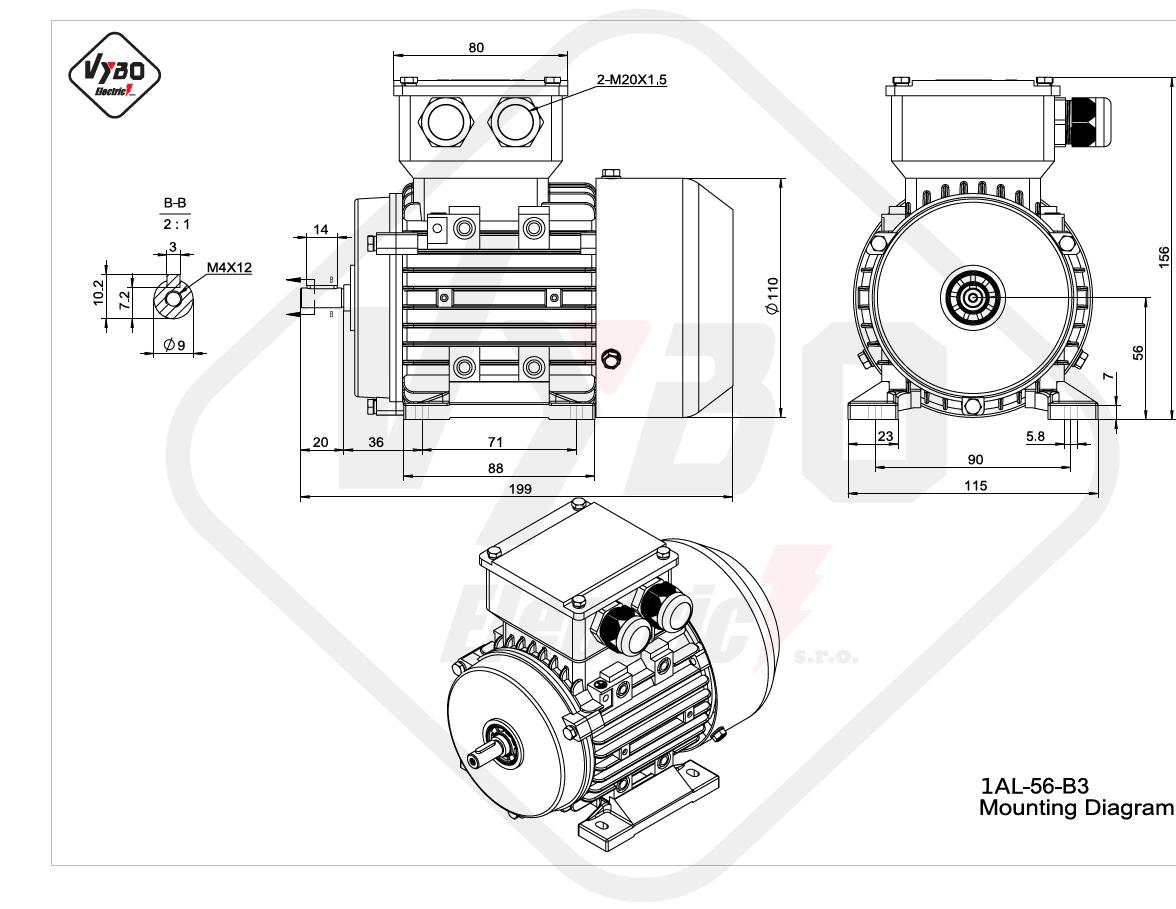 rozmerový výkres elektromotor 1AL 56 B3 online