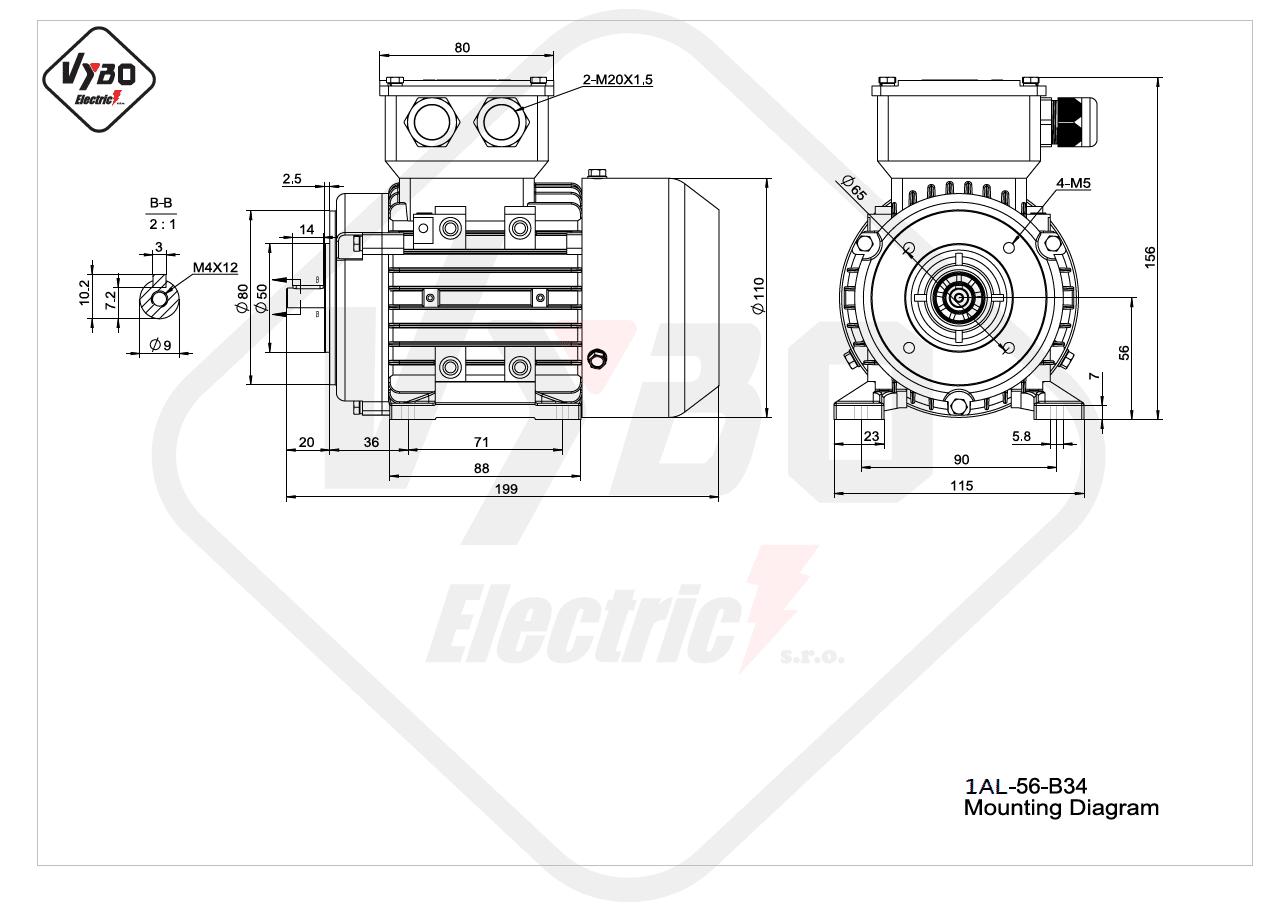 rozmerový výkres elektromotor 1AL 56 B34 online