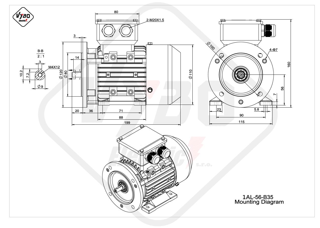 rozmerový výkres elektromotor 1AL 56 B35 online