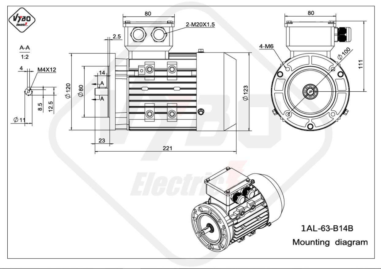 rozmerový výkres elektromotor 1AL 63 B14B online