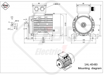 rozmerový výkres elektromotor 1AL 63 B3 online