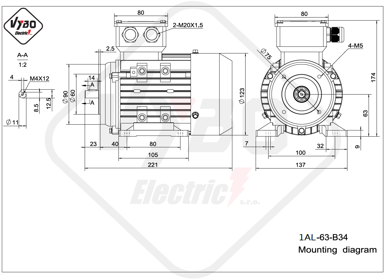 rozmerový výkres elektromotor 1AL 63 B34 online