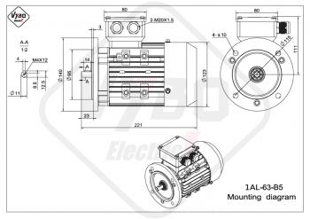 rozmerový výkres elektromotor 1AL 63 B5 online