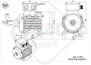 rozmerový výkres elektromotor 1AL 71 B3 online