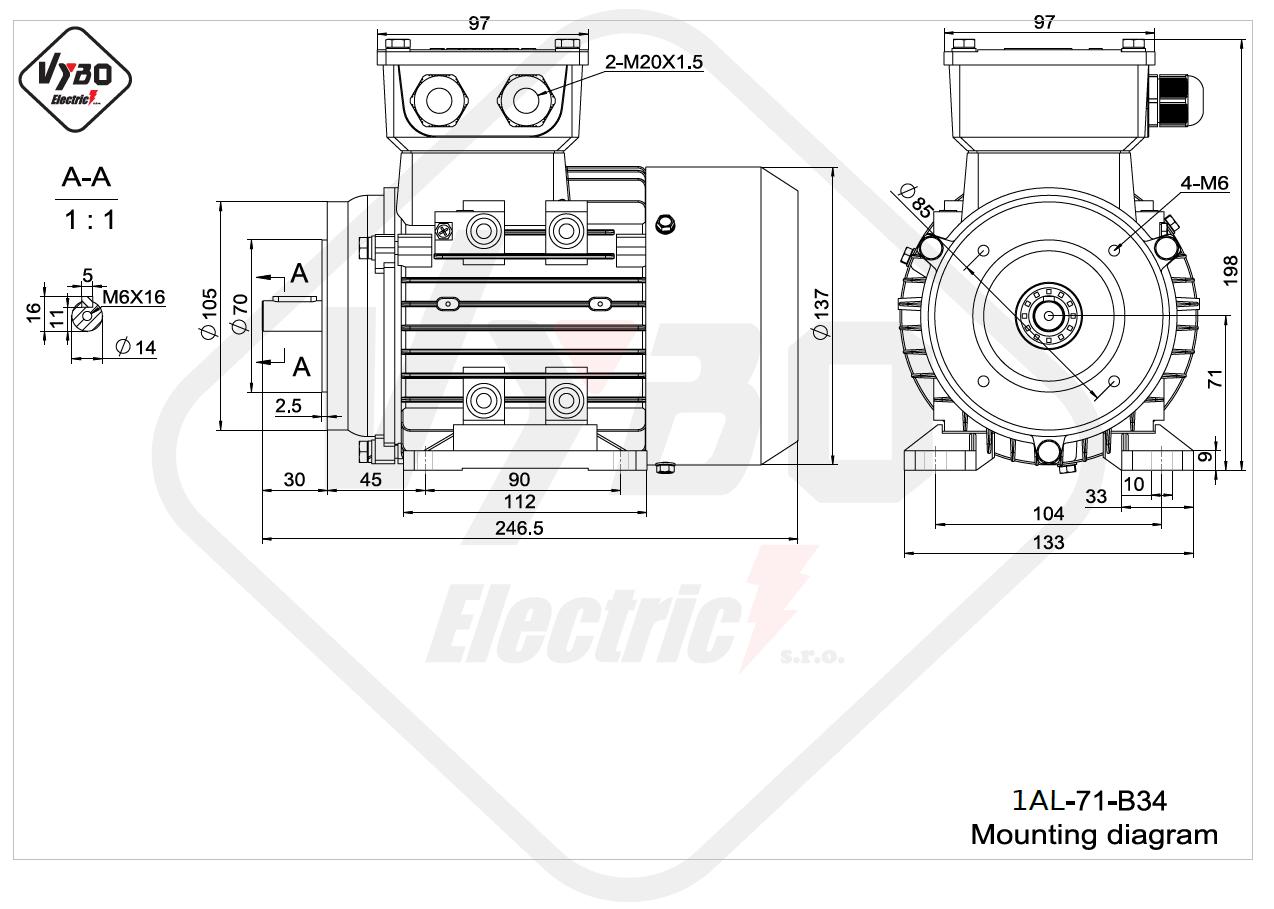 rozmerový výkres elektromotor 1AL 71 B34 online