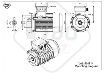 rozmerový výkres elektromotor 1AL 80 B14 online