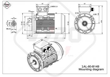 rozmerový výkres elektromotor 1AL 80 B14B online
