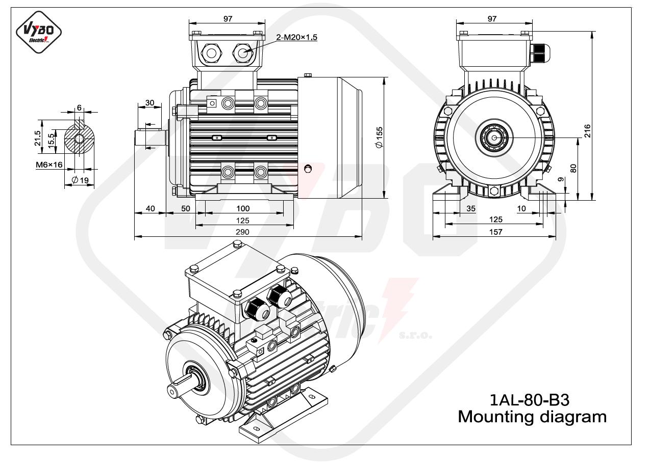 rozmerový výkres elektromotor 1AL 80 B3 online