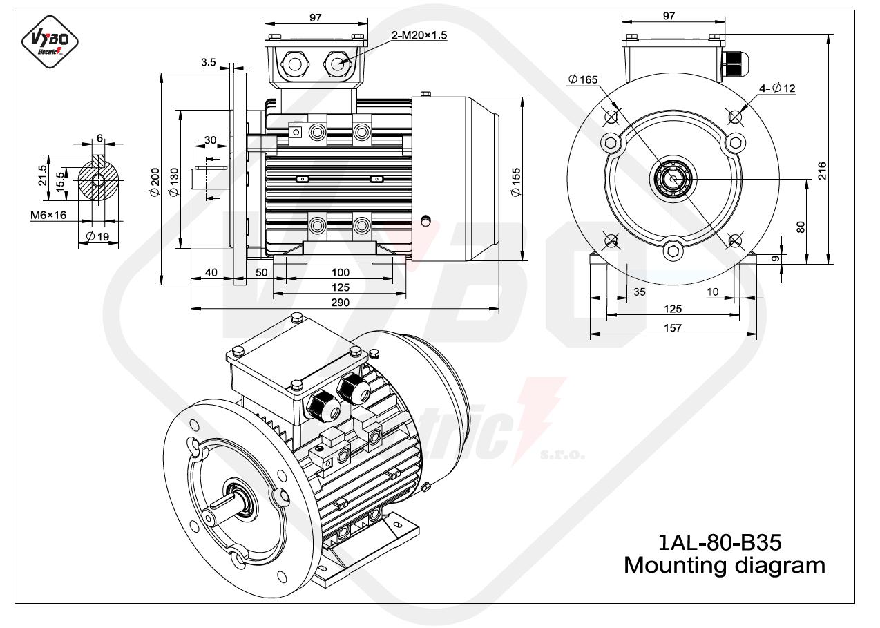 rozmerový výkres elektromotor 1AL 80 B35 online