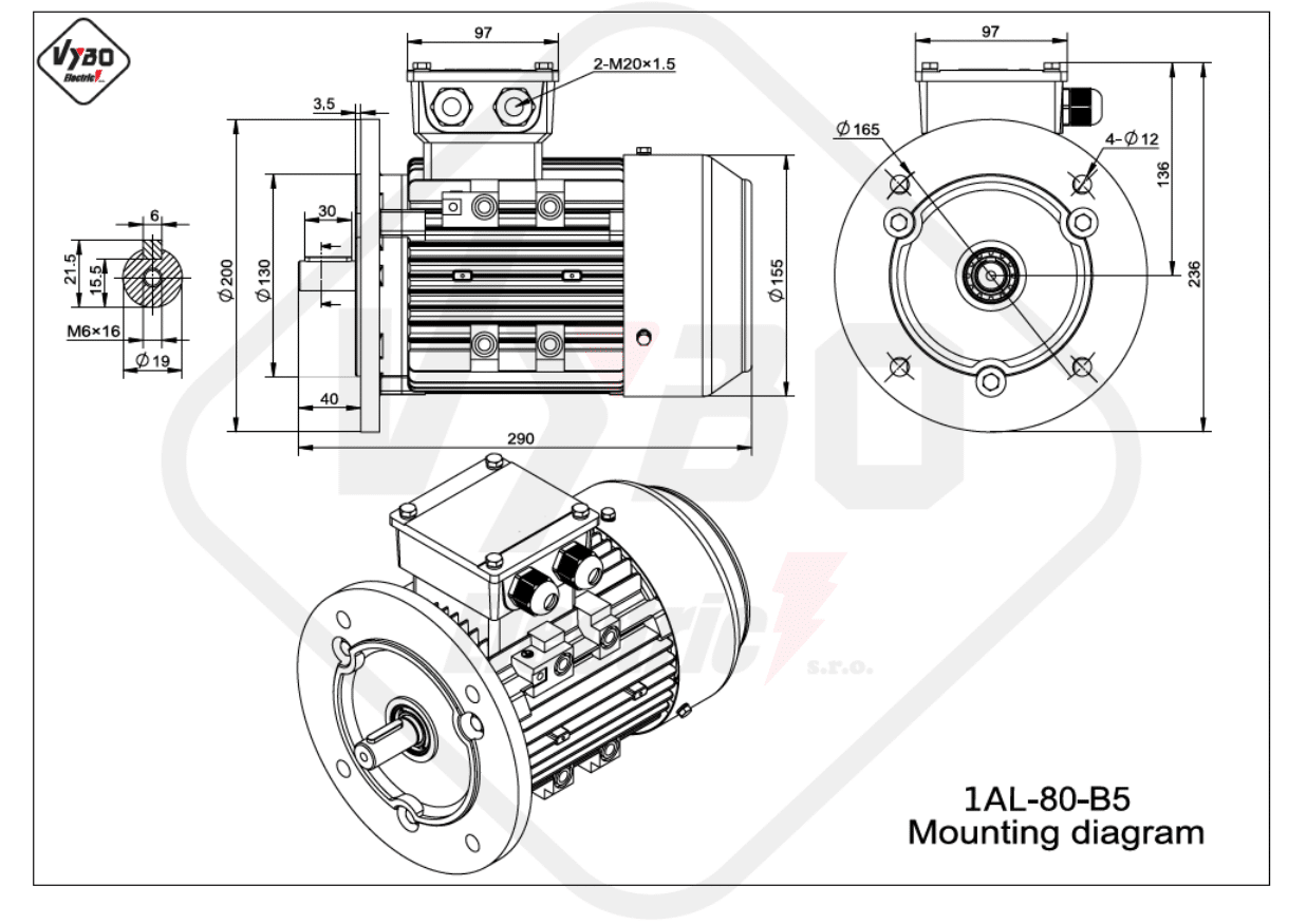 rozmerový výkres elektromotor 1AL 80 B5 online