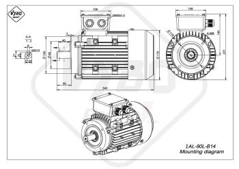 rozmerový výkres elektromotor 1AL 90L B14 online