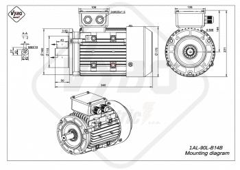 rozmerový výkres elektromotor 1AL 90L B14B online