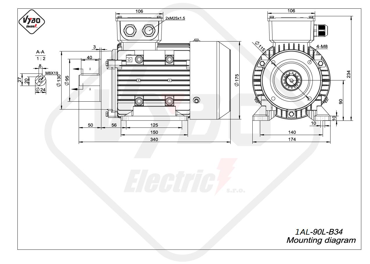 rozmerový výkres elektromotor 1AL 90L B34 online