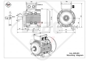 rozmerový výkres elektromotor 1AL 90S B3 online
