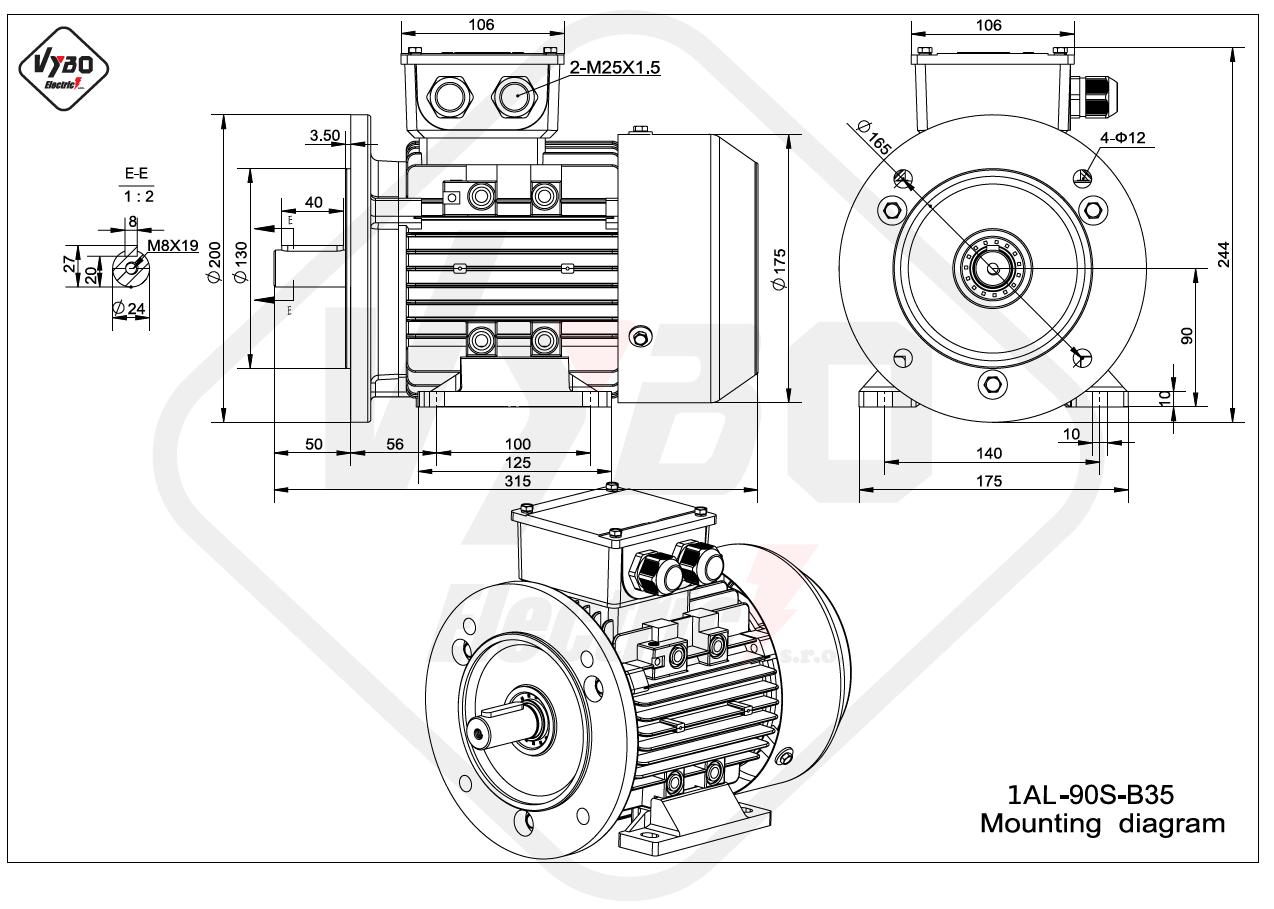 rozmerový výkres elektromotor 1AL 90S B35 online