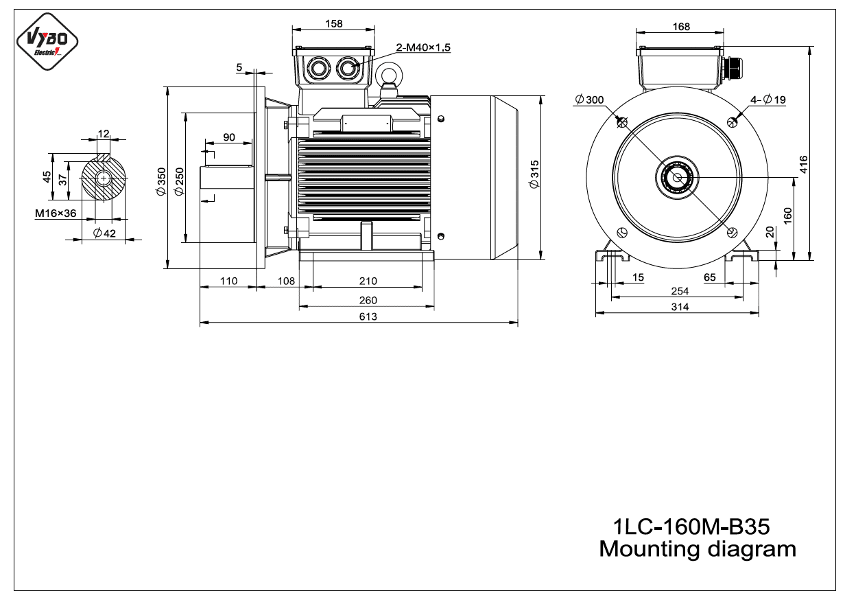 rozměrový výkres elektromotor 1LC 160M