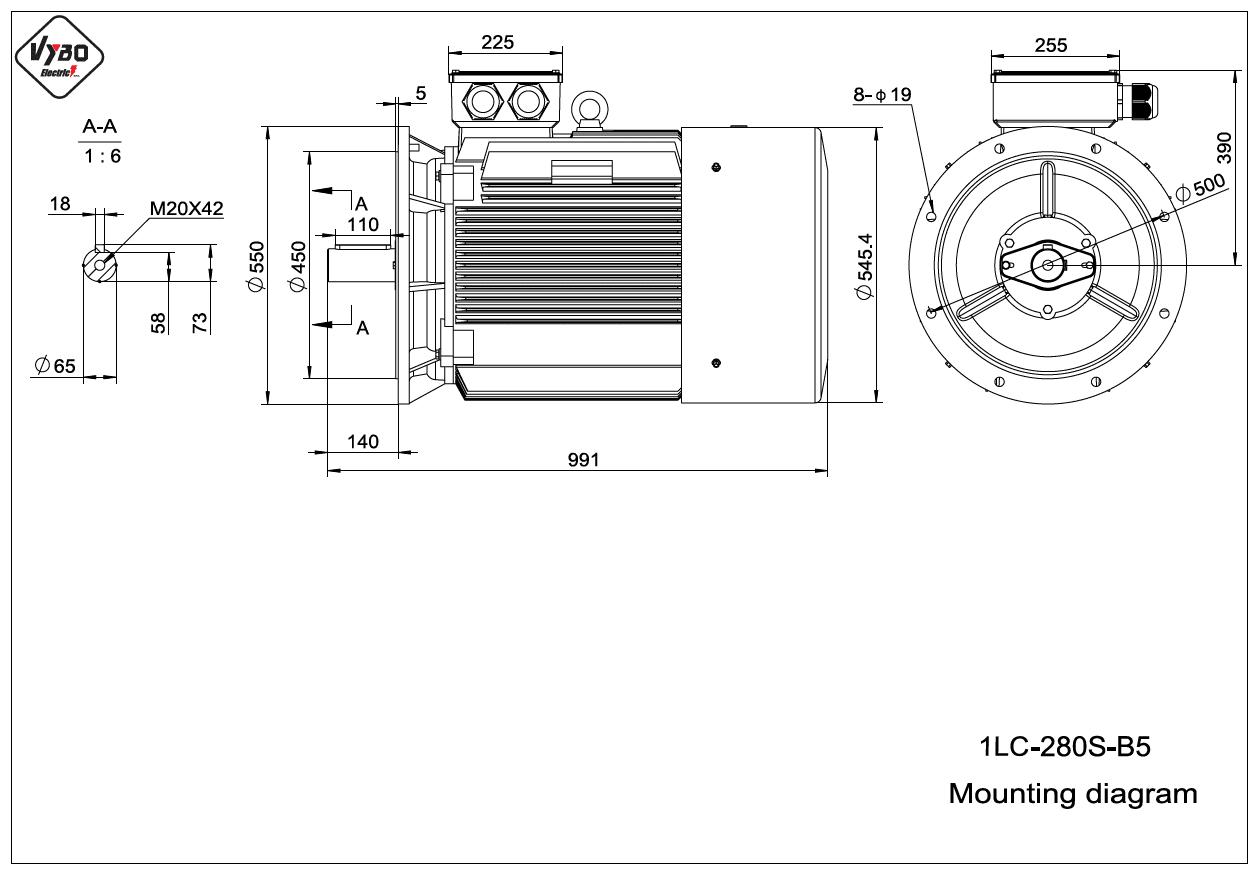 rozměrový výkres elektromotor 1LC 280S