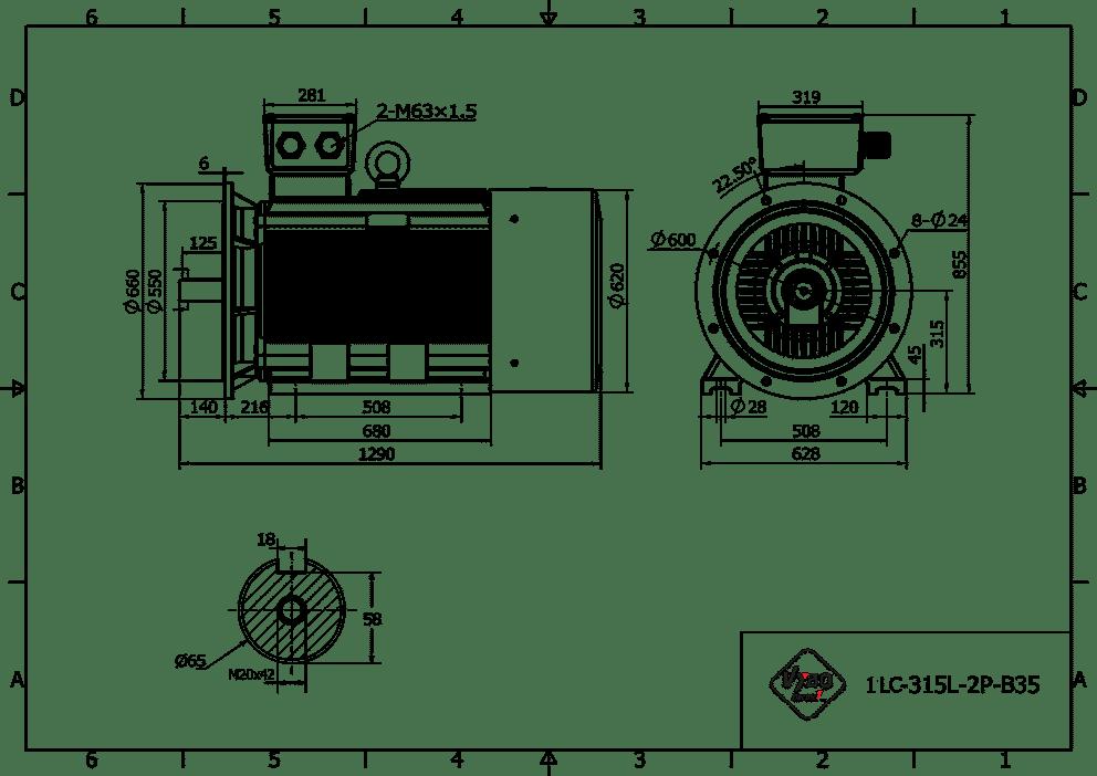 rozměrový výkres elektromotor 200kw 1LC315L02