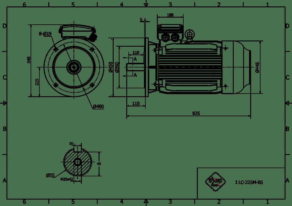 rozměrový výkres elektromotor 30kw 1LC225M-6
