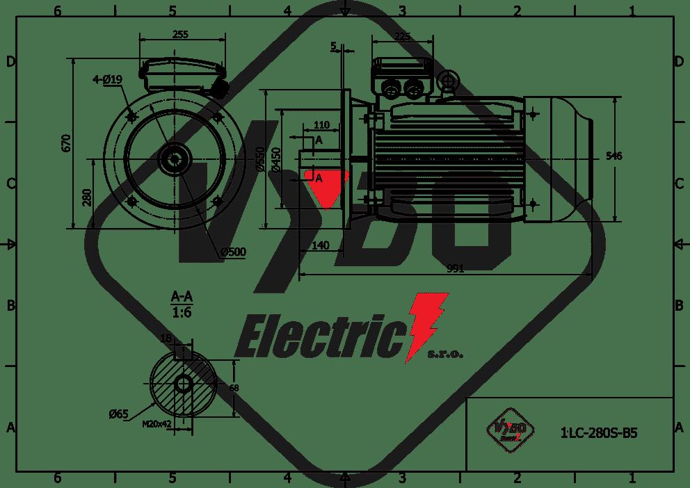 rozměrový výkres elektromotor 37kw 1LC280S-8