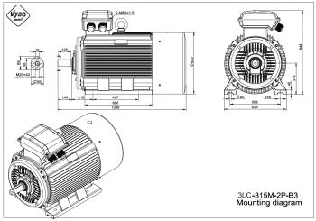 rozměrový výkres elektromotor 3LC 315M B3