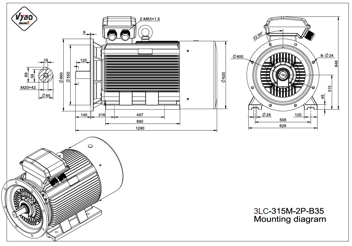 rozměrový výkres elektromotor 3LC 315M B35