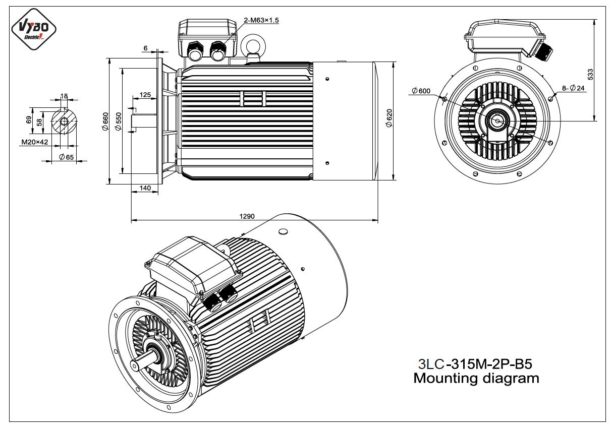 rozměrový výkres elektromotor 3LC 315M B5