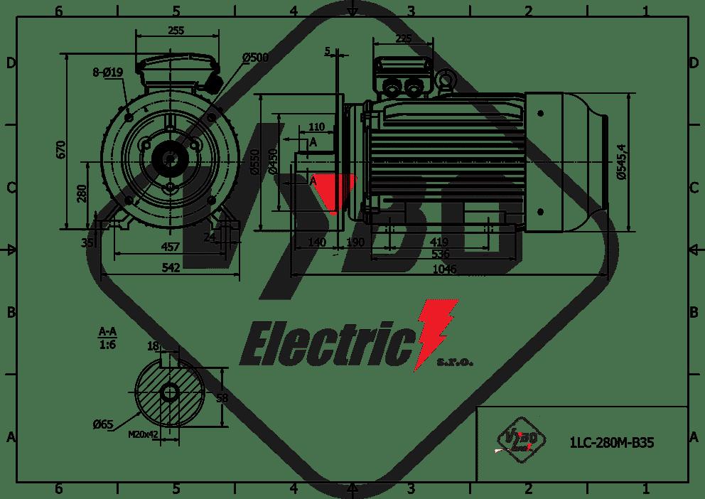 rozměrový výkres elektromotor 45kw 1LC280M-8