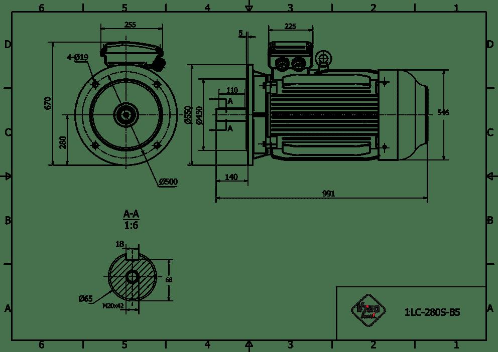 rozměrový výkres elektromotor 45kw 1LC280S-6