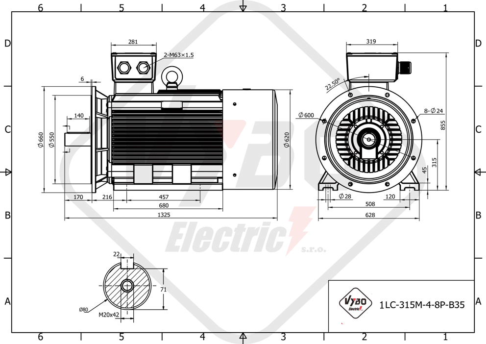rozměrový výkres elektromotor 55kw 1LC315M-8