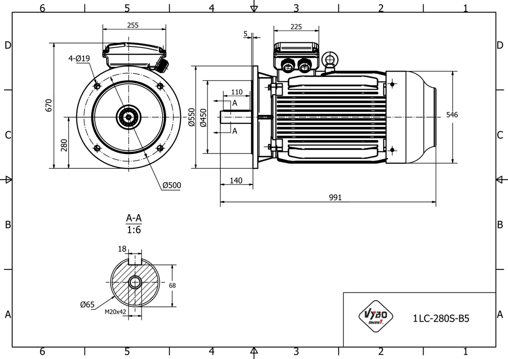 rozměrový výkres elektromotor 75kw 1LC280S-2