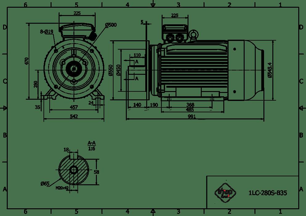 rozměrový výkres elektromotor 75kw 1LC280S-4