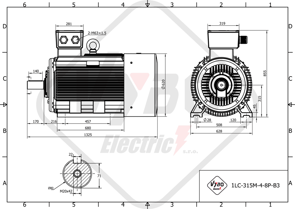 rozměrový výkres elektromotor 75kw 1LC315M-8