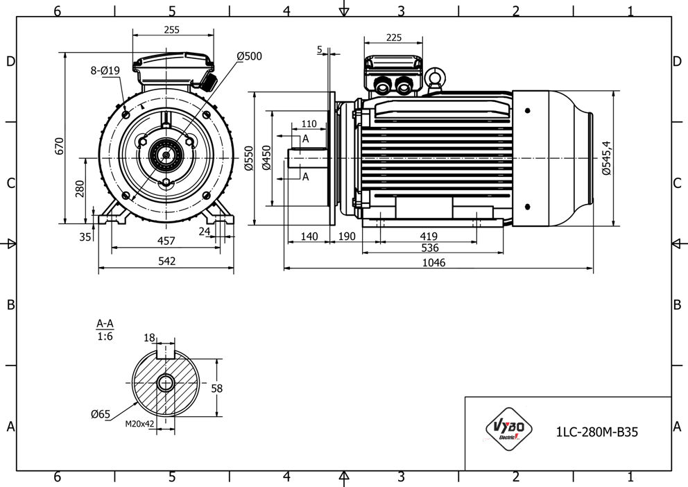 rozměrový výkres elektromotor 90kw 1LC280M-2