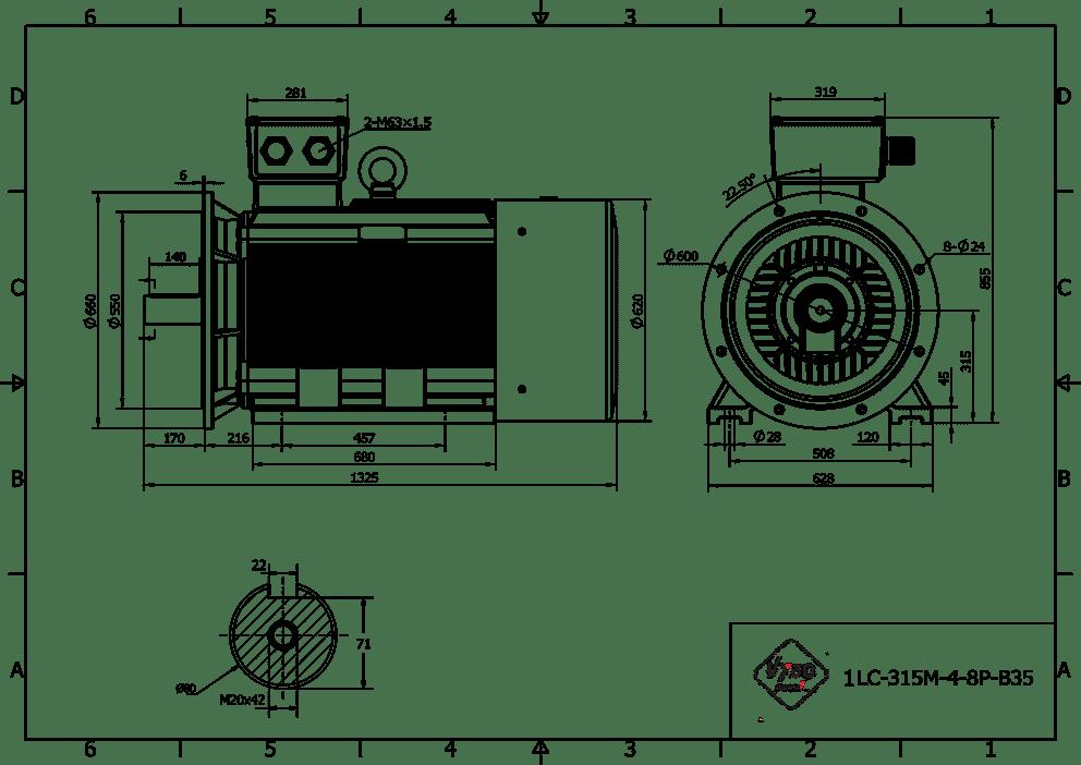 rozměrový výkres elektromotor 90kw 1LC315M06