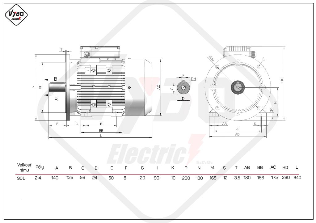 rozměrový výkres jednofázové elektromotory velikost 90L